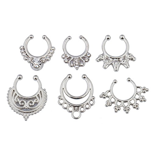 SEXYPOINT 6 PCS Septum Hanger Clip-On Nose Rings Hoop Non Piercing Body Jewelry - Fake Bull Nose Ring Costume