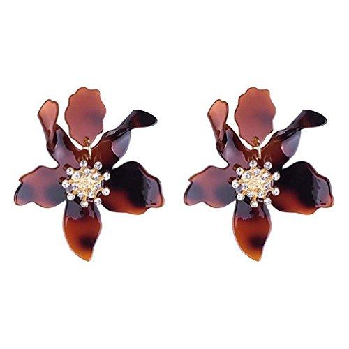 Lampwork Crystal Earring - Miweel Bohemian Luxury Oversize Resin Big Flower Earrings For Women Stainless Steel Crystal Jewelry