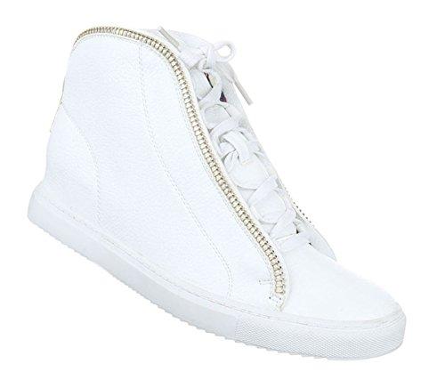Damen Freizeitschuhe Stiefelette Schuhe Zipper Schnürer Boots Schwarz Weiß 36 37 38 39 40 41 Weiß