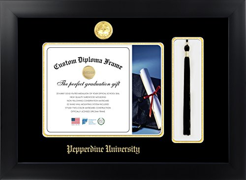 (Celebration Frames Pepperdine University 8½ x 11 Matte Black Finish Infinity Diploma with Tassel Box Frame)