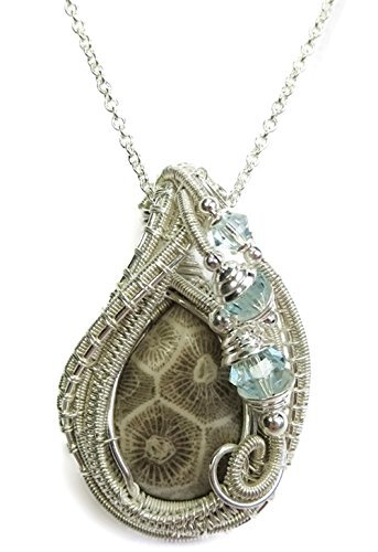 Fossil Coral Pendant (Fossil Coral Wire-Wrapped Pendant in Tarnish-Resistant Sterling Silver with Swarovski)