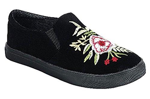 Top Selling Black Rose Embroided Faux Suede Leather Low Heel Sneaker Lightweight Nice Pretty Foam Sport Slip-On Beach Shoe Loafer Gift Idea Under 25 Dollars For Sale Women Teen Girl (Size 10, Black)
