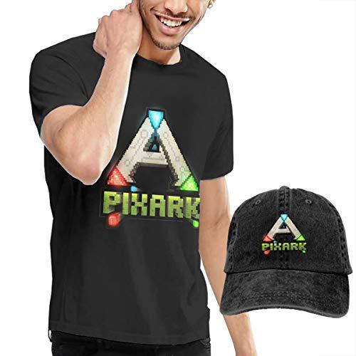 YuHuauhuhARK Survival Evolved Logo Men's Short Sleeved T-Shirt and Cowboy Hat Fashion Black S