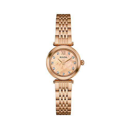 Bulova Ladies Women's Designer Diamond Watch Bracelet - Rose Gold Wrist Watch (Bulova Mens Diamond Gold Watch)