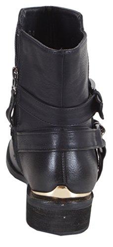 Waldhay - stylische Cowboy Stiefeletten Damen Boots mit goldener Zierde Leder Look Herbst Winter Schuhe 36 37 38 39 40 41 Kette - Schwarz