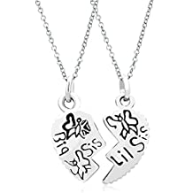 2 Pcs Heart Big Sis & Lil Sister Two Chains Sale Cheap Pendant Necklace Charms Beads