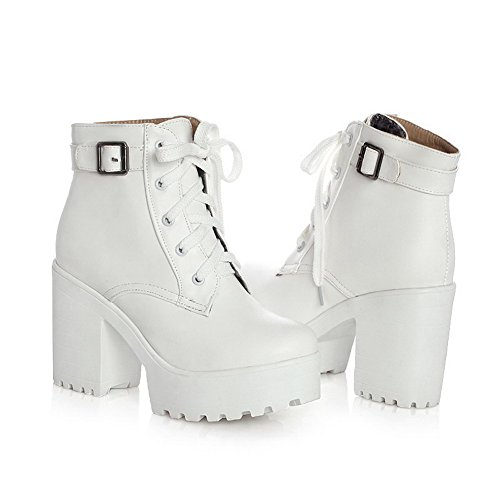 AgooLar Women's Round Closed Toe Low-Top High-Heels Solid PU Boots White JqaLG