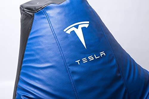 Tesla Supercar Comfortable Kids Adult Game Outdoor Indoor Lounge Chair Cover + Inner Bag (Without Beans) (Blue)