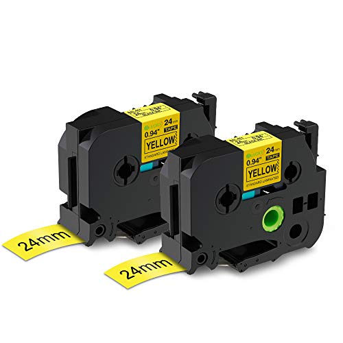 Compatible Brother Ptouch 24mm Label Tape, TZe-651 Black on Yellow 1 Inch Standard Laminated Compatible with Brother P Touch PTD600 PT-P900W PT-P950NW Label Maker, 2-Pack - Yellow Tape Labeling