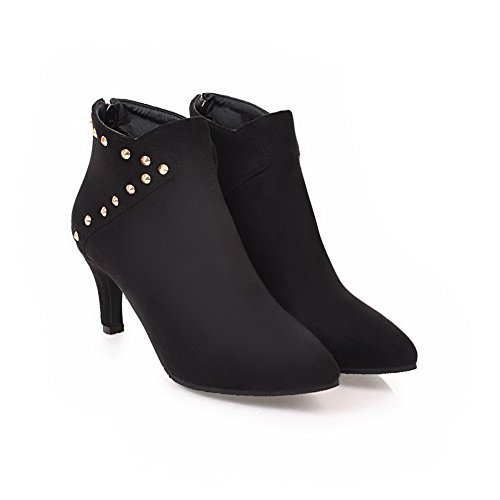 BalaMasa Womens Grommets Pointed-Toe Ankle-High Zipper Suede Boots ABL10572 Black TVvgLy