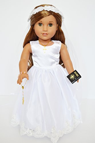 (Communion Gown with Lace Shoulders and Embroidered Edge Compatible With Fits American Girl Dolls with Accessories- 18 Inch Doll Clothes for American Girl Dolls)