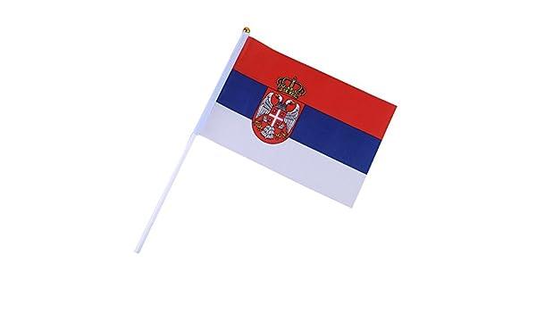 Vesub 2018 - Banderas del equipo nacional de mano de varios países con 1421 cm, recuerdo de los fanáticos de fútbol, 50 unidades, (Serbia): Amazon.es: Deportes y aire libre