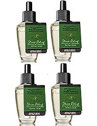 Bath and Body Works 4 Pack Aromatherapy Stress Relief Eucalyptus & Spearmint Wallflower Fragrance Refill 0.8 Oz