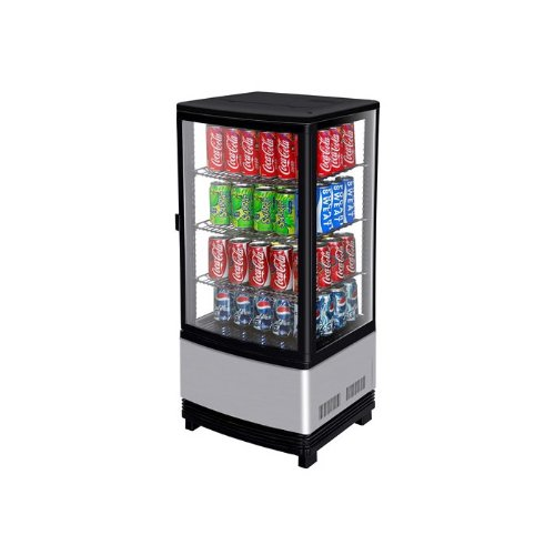 (CRT771R 1 Door Glass Show Case with Elegant Design Efficient Refrigeration System Bright LED Lighting and Stainless Shelves)
