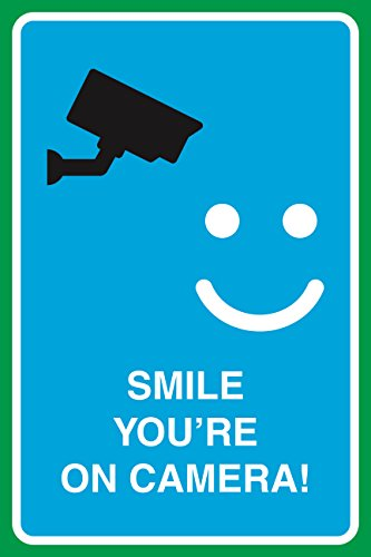 Smile You're On Camera Print Video Smiley Face Picture Notice Home Office Work School Business Sign by iCandy Combat