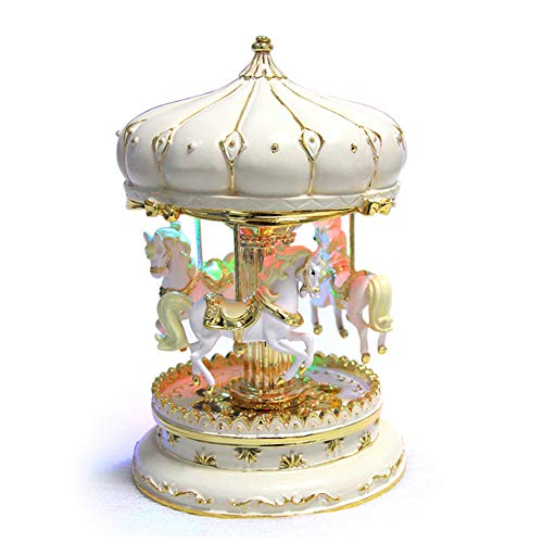 LIWUYOU Merry-Go-Round Music Box Carousel Horse Luxury Large Color Change LED Light Luminous Rotation With the Castle in the Sky Color Beige - Musical Carousel