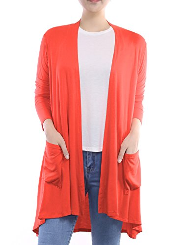 Coral Cardigan Sweater (BIADANI Women Long Sleeve Classic Lightweight Front Pockets Cardigan Coral XX-Large)
