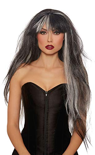 Dreamgirl Women's Extra-Long Haunted Black/White Mix Wig, One -