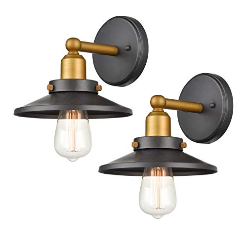 WILDSOUL 40011-TG2 Industrial Vintage Wall Sconce Light with Bulbs, Tarnished Graphite Finish Wall Lights, 2-Pack