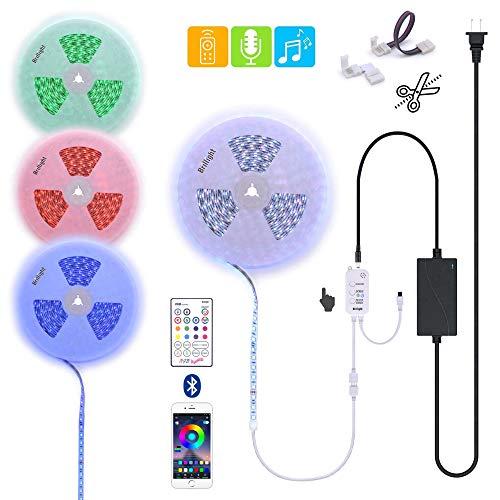 Custom Clamp - 90 Ft (2X 45Ft by Parallel Splice) Bluetooth Music RGB LED Strip Light Flexible Long Run Length Bar Light Kit with Sound Sensor IR Remote Controller Power & Interconnect Clamps Custom DIY Lighting
