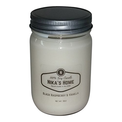 Mason Jar Soy Candle - Nika's Home Black Raspberry & Vanilla Soy Candle - 12oz Mason Jar