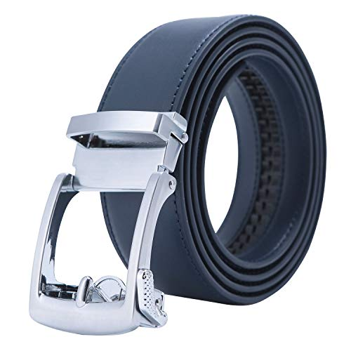 Men's Holeless Leather Ratchet Derss Belt with Automatic Sliding Buckle - Trim to Fit