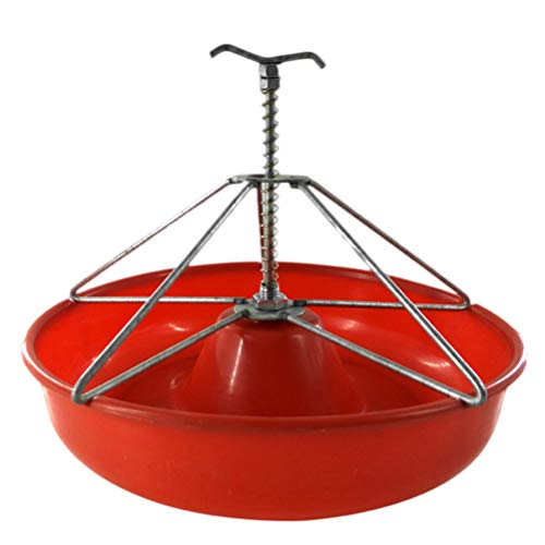 Yardwe Plastic Water Food Bowl Waterer Feeder for Pig Horses Cows Cattle Goats and Others Livestock Red