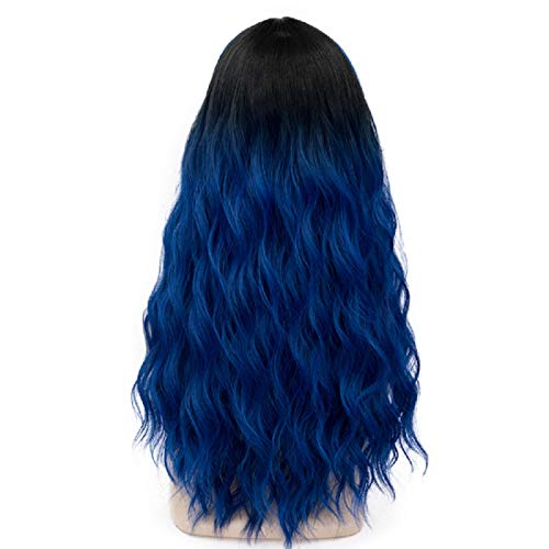 Probeauty Miracle Collection Ombre Dark Root Long Curly Women Lolita Anime Cosplay Wig + Wig Cap (60cm, Royal Blue F9)]()