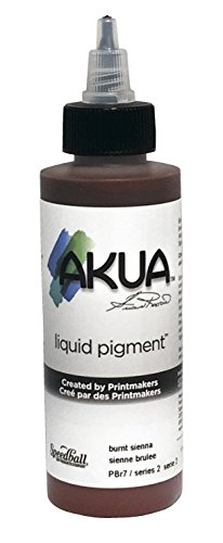 Akua Kolor Non-Toxic Water Based Monotype Ink, 4 oz Bottle, Burnt Sienna