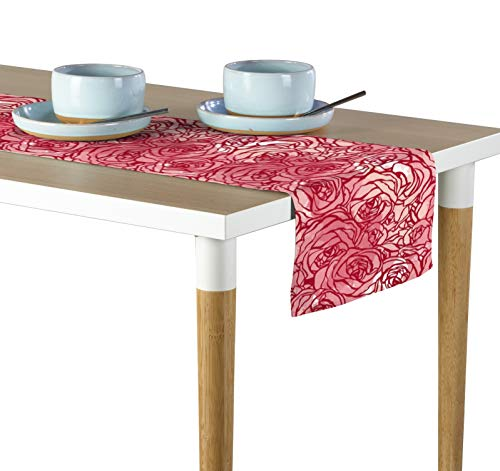 Milliken Hand Drawn Pink Roses Table Runner Assorted Sizes ()