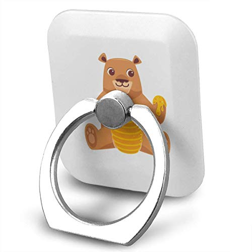 Cell Phone Holder Bear with Honey Jar Ring Mobile Phone Holder Adjustable 360°Rotation Finger Grip Holder for IPad,Kindle,Phone Galaxy Plus Divi,Accessories Desk,Android Smartphone -