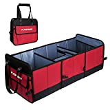 Car Trunk Organizer,FLAGPOWER Foldable Grocery Storage Container Collapsible and Packable with 3 Compartments Side Pockets for Car Auto Truck Minivan or SUV