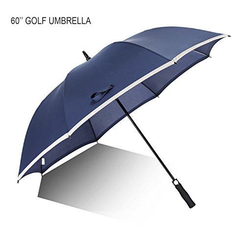 60'' Golf Umbrella, Ambrellaok Auto Open Large windproof oversizes umbrella with Reflective Piping blue Blue Open Umbrella