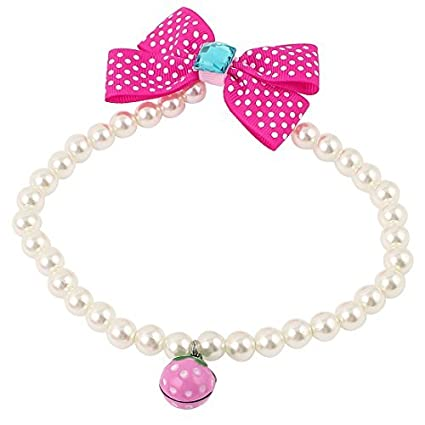 Amazon.com : eDealMax cristalinos plásticos Decoración mascotas Collar de perlas de imitación Cuello Blanco L Fucsia : Pet Supplies