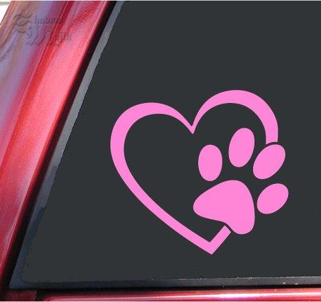 ShadowMajik Heart and Paw Print Vinyl Decal Sticker (4″ X 3.7″, Pink)