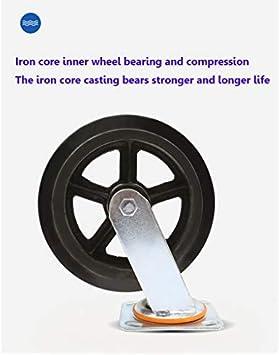 Rueda de hierro universal de 8 pulgadas, rueda de goma para el jardín, accesorios para remolques, ruedas resistentes al desgaste y a la corrosión