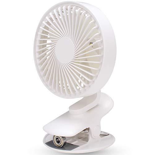 Clip on Fan with Night Light, LBTbate Personal Mini Desk Table Fan, Rechargeable Battery Operated or USB Powered, 360° Rotating, Portable Fan for Baby Stroller Home Office Camping Outdoor