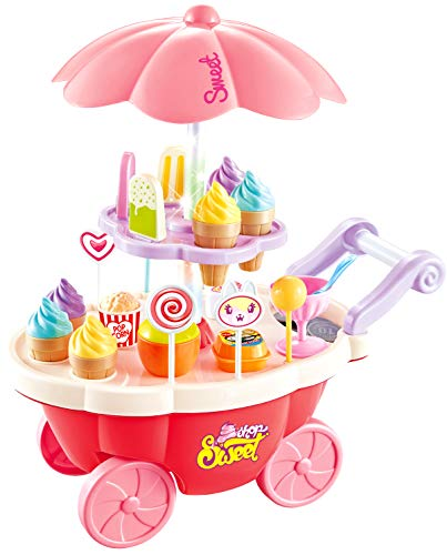 PowerTRC Pink Candy Ice Cream Cart with Light and Music | Miniature (Portable Ice Cream Cart)