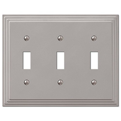 Step Design Triple Toggle Wall Switch Plate Cover - Satin Nickel