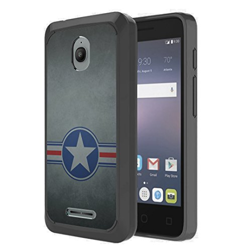 For Alcatel Streak Case, Alcatel Dawn Case, Alcatel Ideal Case, Alcatel Pixi Avion/Pixi Bond Case, Capsule-Case Hybrid Slim Hard Back Shield Case with TPU Edge Black (Military National Aircraft) ()