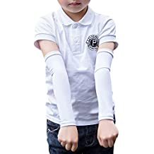 GOGO 3-Pack Kids Outdoor UV Protection Cooling Arm Sleeves-White