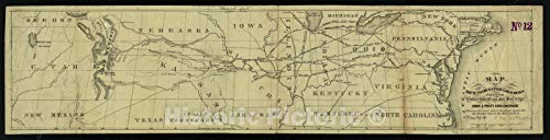 Map | 1859 Map of the route to the Kansas gold mines : prepared from government and other surveys : showing the most direct railroad routes | Historic Wall Decor Poster Art Reprint | 44in x 11in