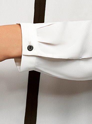 Chemisier en Blanc oodji Fluide 1229b Femme Finition Ultra Tissu avec Contrastante gSwqEBx