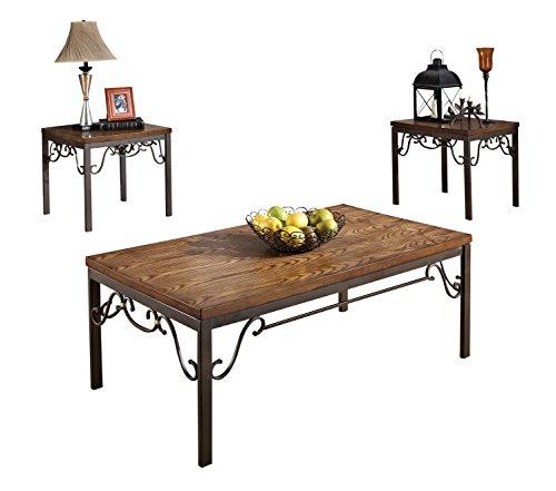 ACME Barry Oak and Dark Bronze Coffee End Table Set 3 (Dark Oak Coffee Tables)