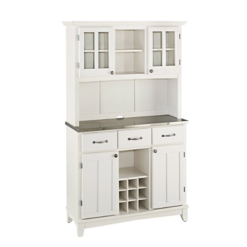 Mix and Match large White buffet server with two-door hutch