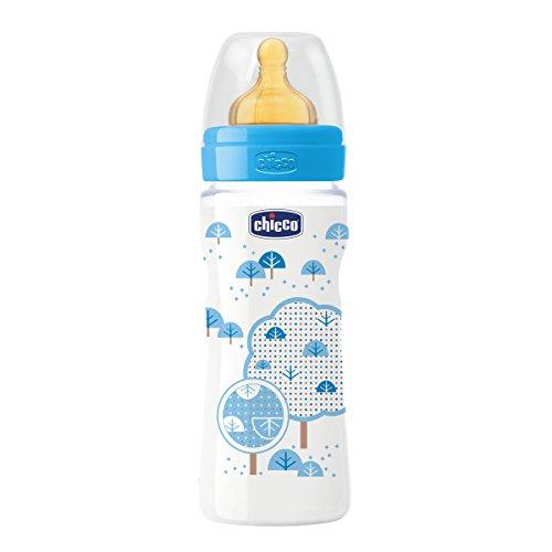 Chicco Wellbeing - Biberon con tetina de latex y flujo rapido para bebe de 4m+, 330 ml, color azul
