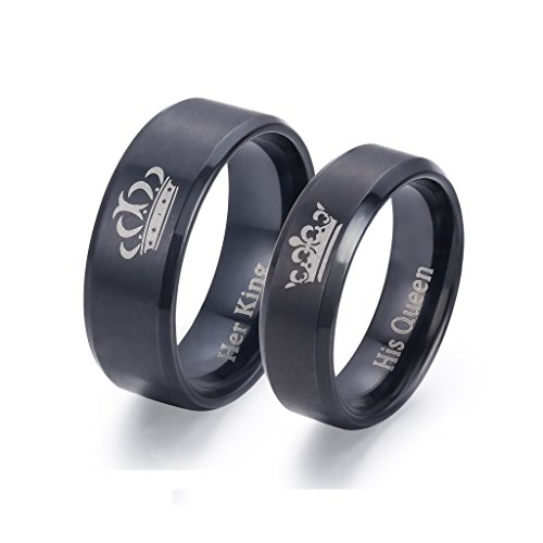 LAVUMO King and Queen Rings for Couples - 2pcs His Hers Stainless Steel Matching Ring Sets for Him and Her - Promise Engagement Wedding Band Black Comfort Fit (Men 11 & Women 7) by LAVUMO (Image #1)