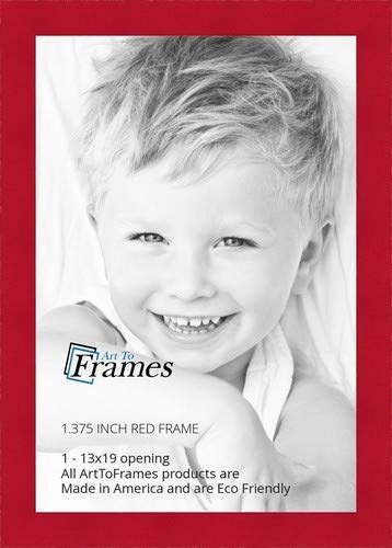 - ArtToFrames 13x19 inch Red Stain on Beech Wood Picture Frame, WOM0066-81792-YRED-13x19