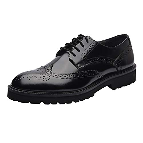 Platform Louis - Allonsi Louis Chic Platform Wingtip Fashion Breathable Men Oxfords Shoes, Genuine Leather Casual Spring Black Luxury Lace-Up Shoes with Low Heels and EVA Sole (Black, 9M US)