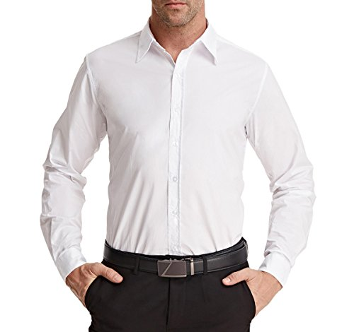 Formal Casual Shirts for Men Big and Tall White (XXL) (Big Smith Clothing)